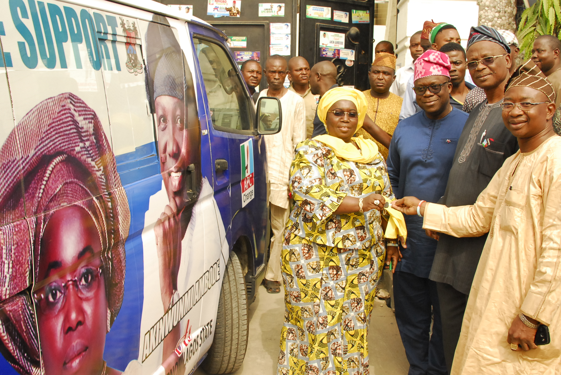 Former Chairman of Agege Local Government Area donated a bus to support our campaign