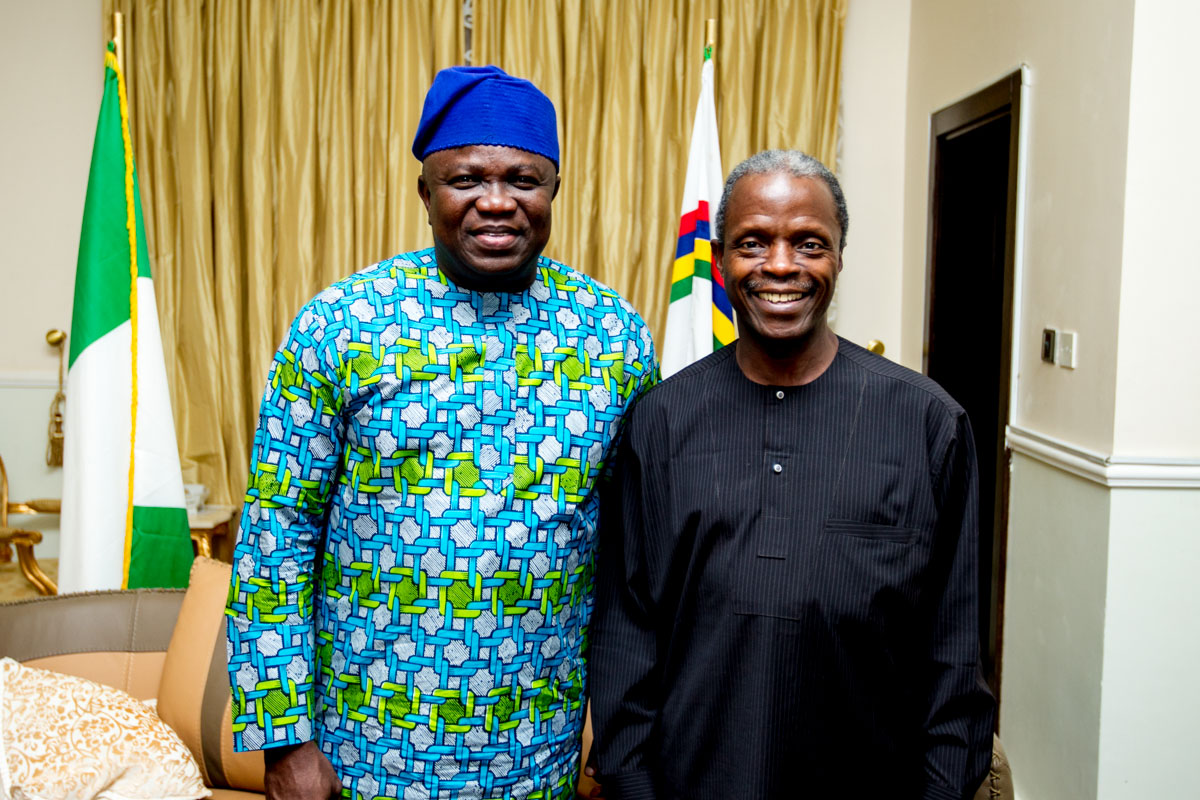 Akinwunmi Ambode Visits Vice-President Elect in Abuja