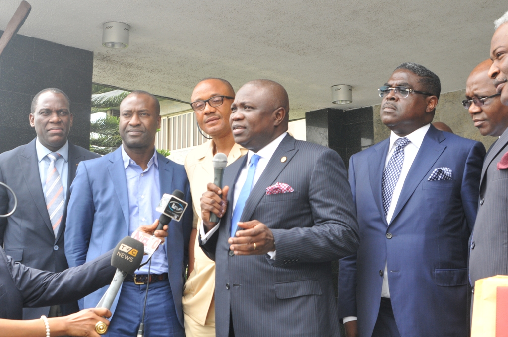 Lagos State Governor, Mr. Akinwunmi Ambode (2nd right) fielding questions from government house correspondents, with Leader of the Team of Investors Mr. Idowu Iluyomade (2nd right), C.E.O, Wichtech, Dr. Chidozie Nwankwo (middle),  Managing Director/C.E.O, Design Extra, Yemi Idowu (left) and Chairman, Amazon Energy, Trevor Akindele (left) during the Governor's meeting with group of Local, International investors and Banks at Lagos House, Ikeja, on Wednesday, July 08, 2015.