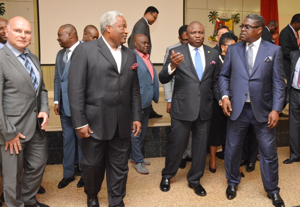 Lagos State Governor, Mr. Akinwunmi Ambode (2nd right) discussing with Leader of the Team of Investors Mr. Idowu Iluyomade (right), Managing Director, Julius Berger, Mr.  Lubasch Detfev ( left) and Chairman, Contraco Nig. Limited, Otunba Ayo Oduntan (left) during the Governor's meeting with group of Local, International investors and Banks at Lagos House, Ikeja, on Wednesday, July 08, 2015.