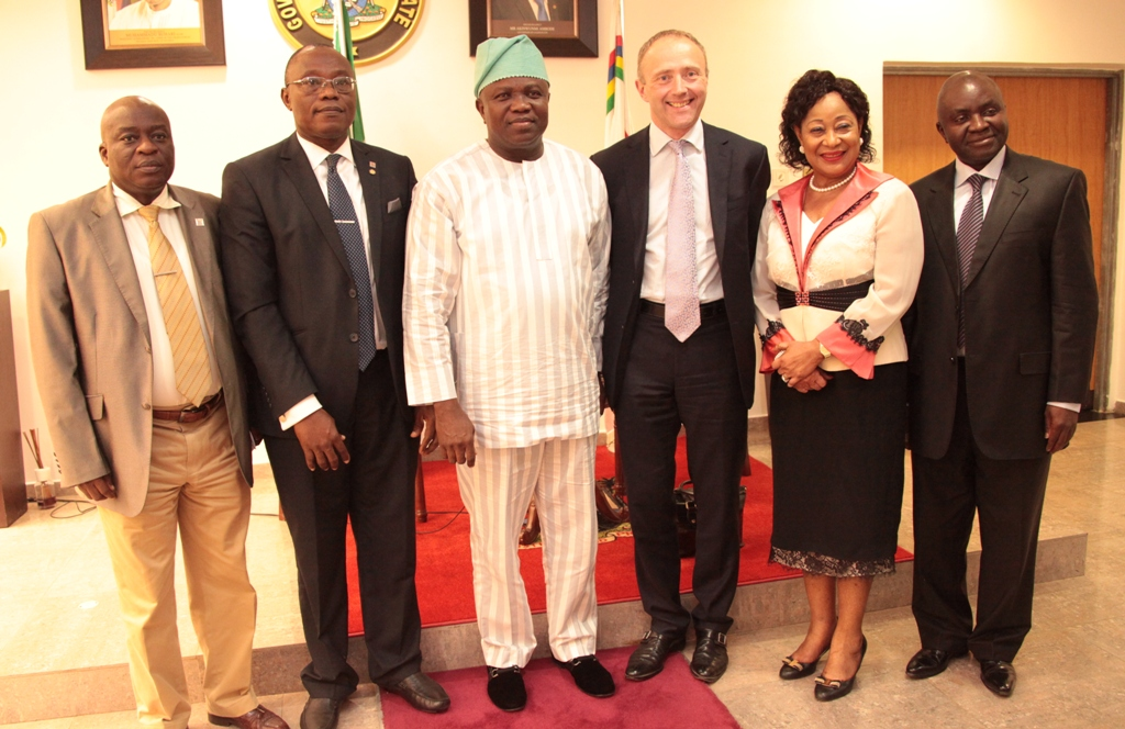 Lagos State Governor, Mr. Akinwunmi Ambode (3rd left) with the Chief Executive Officer, Commonwealth Enterprise and Investment Council, Mr. Oliver Everett (3rd right), President, Lagos Chamber of Commerce & Industry (LCCI), Alhaji Remi Bello (2nd left), Deputy President, LCCI, Mrs. Nike Akande(2nd right), Acting Permanent Secretary, Ministry of Commerce, Industry & Cooperatives, Mr. Ajala Olaseni (left) and Director General, LCCI, Mr. Muda Yusuf (right) during a courtesy visit to the Governor by the C.E.O of Commonwealth Enterprise and Investment Council at the Lagos House, Ikeja, on Wednesday, July 29, 2015.