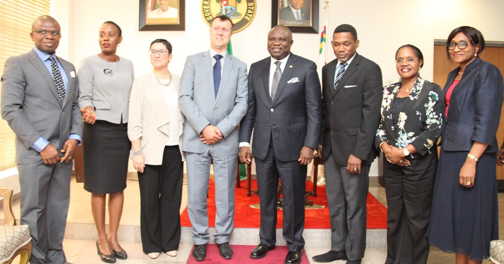 Lagos State Governor, Mr. Akinwunmi Ambode (4th right) in a group photograph with the Head, Department For International Development (DFID) Nigeria, Mr. Ben Mellor (4th left), South West Regional Coordinator, DFID, Head of Lagos Office, Mr. Sina Fagbenro-Byron (3rd right), Head of Service, Mrs. Folashade Jaji (2nd right), Permanent Secretary, Office of Overseas Affairs & Investment (Lagos Global), Mrs. Arinola Olufunmilayo Odulana (right), State Programme Manager, DFID-SPARC, Mr. Ifeanyi Peters Ugwuoke (left), DFID Regional Programme Officer, Margaret Fagboyo (2nd left) and Private Sector Adviser, DFID Lagos, Alessandra Lusrati (3rd left) during a courtesy visit to the Governor by DFID, at the Lagos House, Ikeja, on Tuesday, August 18, 2015.