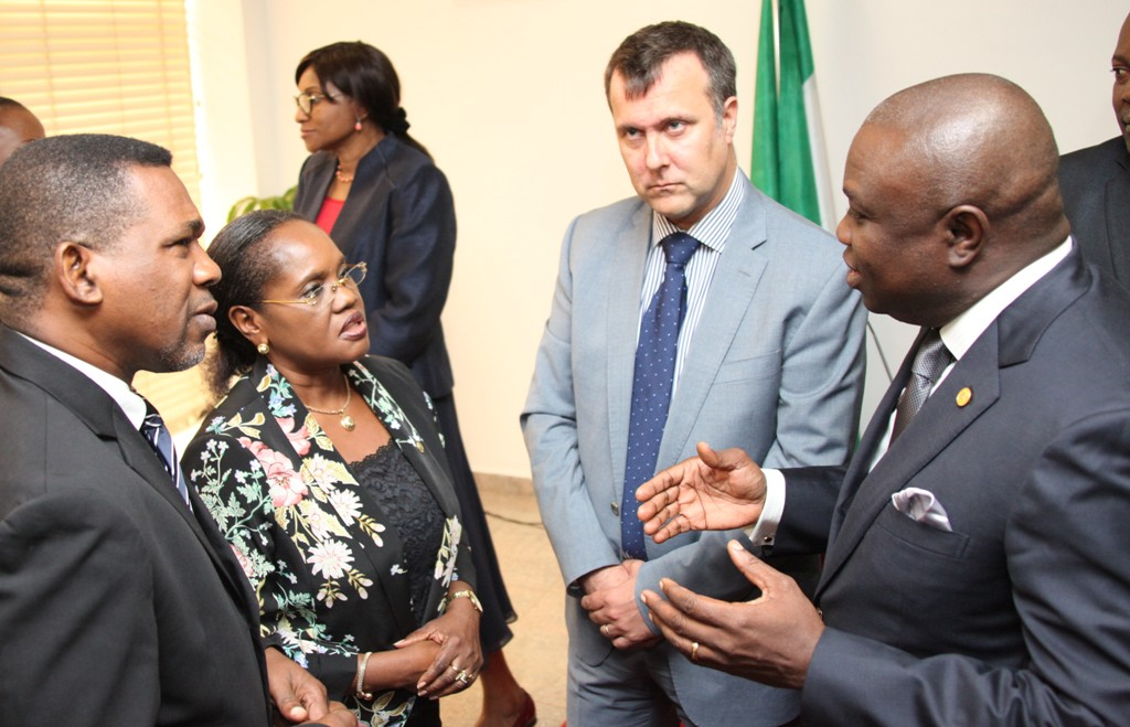 Lagos State Governor, Mr. Akinwunmi Ambode (right) discussing with the Head, Department For International Development (DFID) Nigeria, Mr. Ben Mellor (2nd right), Head of Service, Mrs. Folashade Jaji (2nd left) and South West Regional Coordinator, DFID, Head of Lagos Office, Mr. Sina Fagbenro-Byron (left) during a courtesy visit to the Governor by DFID, at the Lagos House, Ikeja, on Tuesday, August 18, 2015.