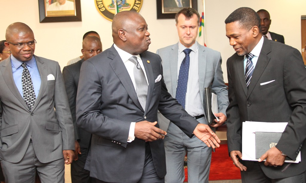 Lagos State Governor, Mr. Akinwunmi Ambode (2nd left) discussing with the South West Regional Coordinator, DFID, Head of Lagos Office, Mr. Sina Fagbenro-Byron (right) during a courtesy visit to the Governor by DFID , at the Lagos House, Ikeja, on Tuesday, August 18, 2015. With them are the Head, Department For International Development (DFID) Nigeria, Mr. Ben Mellor (2nd right) and State Programme Manager, DFID-SPARC, Mr. Ifeanyi Peters Ugwuoke (left).