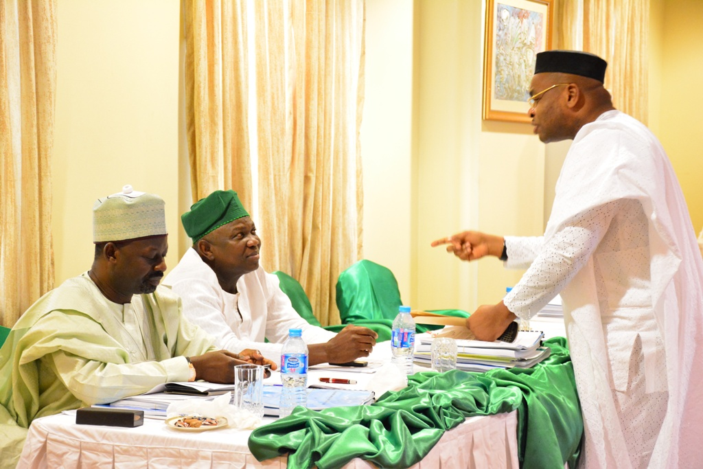 Lagos State Governor, Mr. Akinwunmi Ambode (2nd left) with his Akwa Ibom and Gombe States counterparts, Mr. Emmanuel Udom (right)and Alhaji Ibrahim Dankwambo (left) during the Adhoc Committee meeting of NEC on Accruals to the Federation Account at the Banquet Hall, State House, Abuja on Thursday, August 13, 2015.