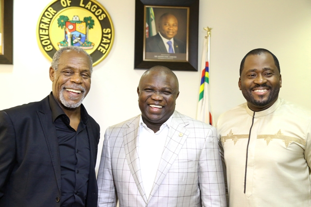 Lagos State Governor, Mr. Akinwunmi Ambode receives Hollywood and Nollywood Artists