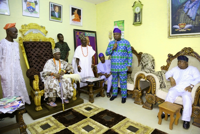 Lagos State Governor, Mr. Akinwunmi Ambode talking at the Olu of Epe's palace