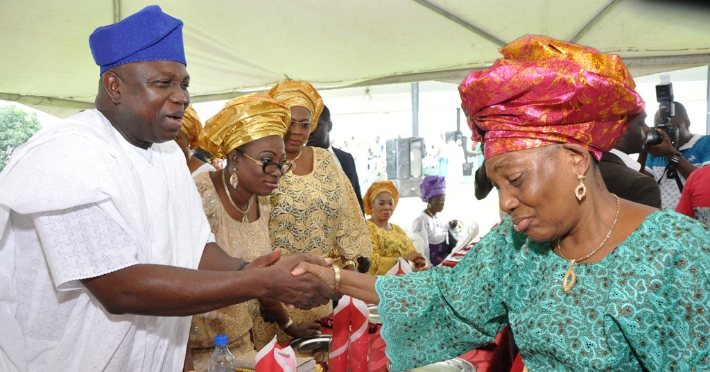 Lagos State Governor, Mr. Akinwunmi Ambode (left) in a warm handshake with wife of first civilian Governor of Lagos State, Alhaja Abimbola during the Eid-el-Kabir Celebration organized by the Ministry of Home Affairs at the Lagos House, Ikeja, on Thursday, September 24, 2015. With them are the First Lady of Lagos State, Mrs. Bolanle Ambode (2nd left) and wife of Chief of Staff to the Governor, Mrs. Aderonke Ojo (3rd left).