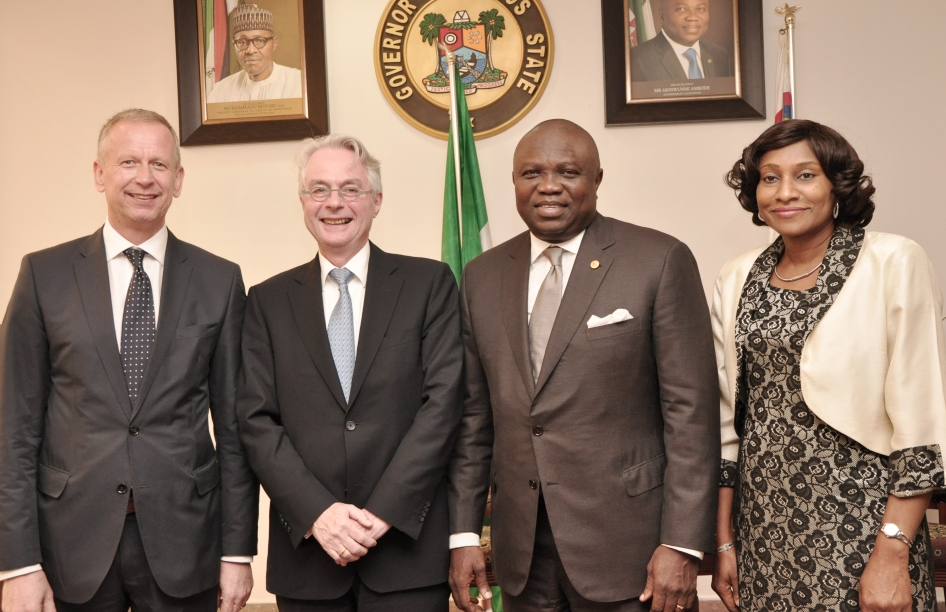 Ambode receives Republic Of Germany Ambassador to Nigeria, Mr. Michael Zenner at Lagos House, Ikeja