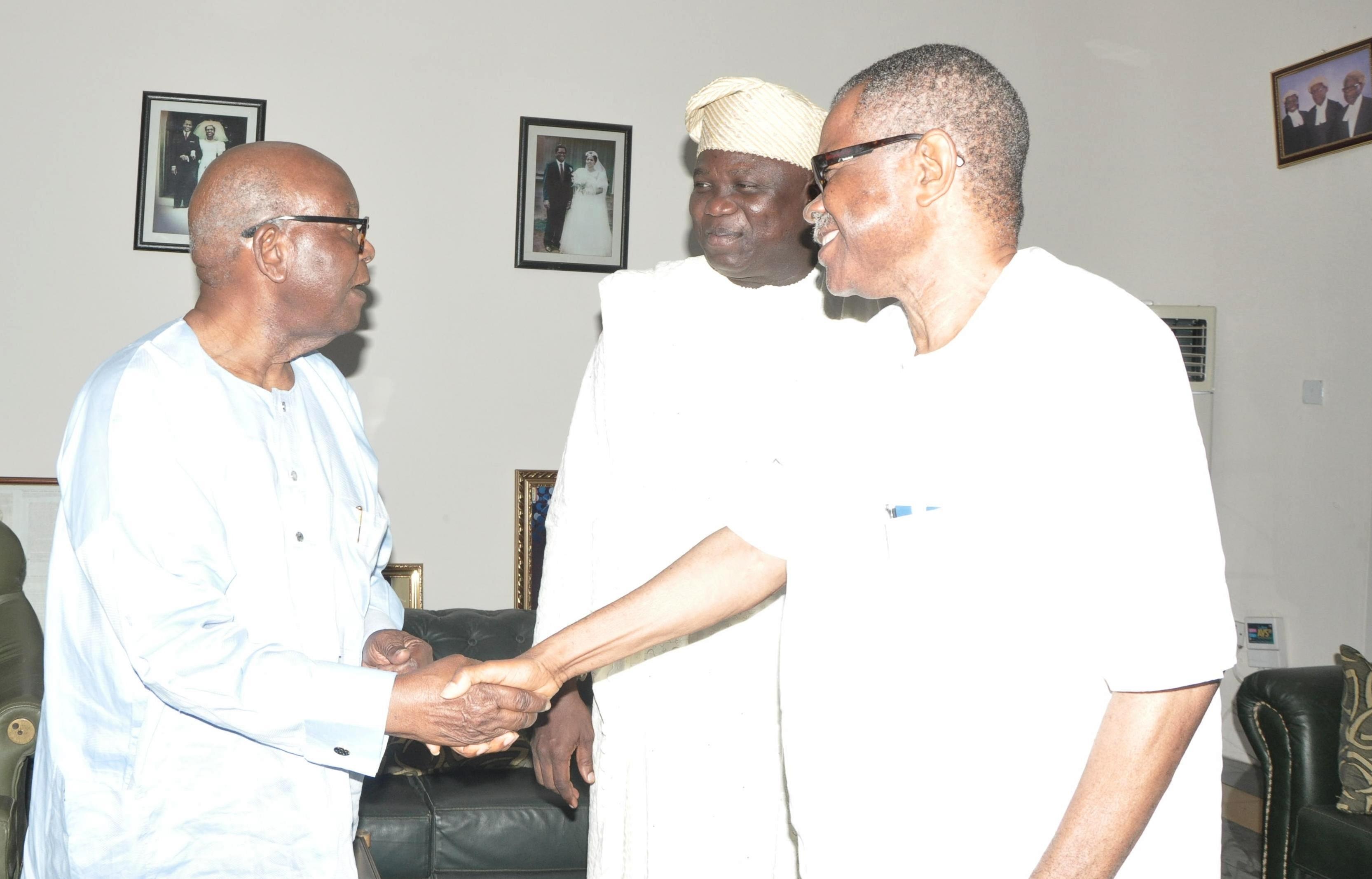 Lagos State Governor, Mr. Akinwunmi Ambode (middle) with Afenifere Leader,  Pa Olaniwun Ajayi (left) and Vice Chairman, South West APC, Chief Pius Akinyele during a courtesy visit to Pa Olaniwun at his Ijebu-Ishara residence in Ogun State, on Sunday, September 20, 2015.