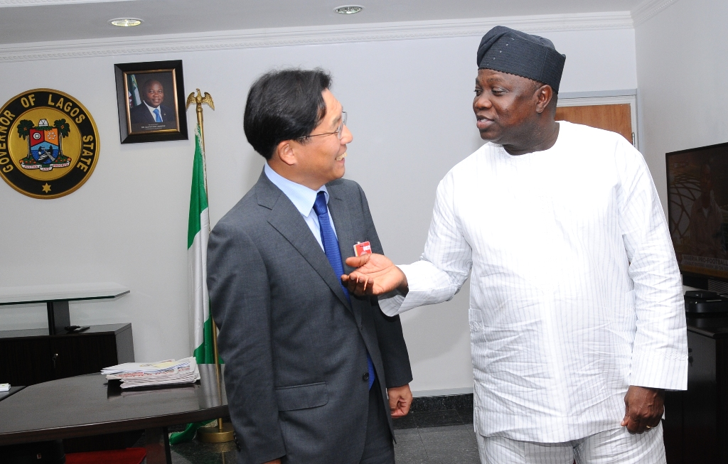 Lagos State Governor, Mr. Akinwunmi Ambode (right) discussing with the Ambassador of the Republic of Korea, Mr. Noh Kyu-Duk (left) during a courtesy visit to the Governor in his Office at the Lagos House, Ikeja, on Friday, September 11, 2015.