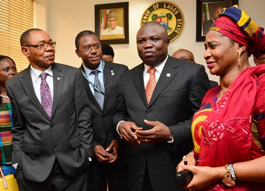 Lagos State Governor, Mr. Akinwunmi Ambode (2nd right) discussing with the Permanent Secretary, Office of Establishment & Training, Mrs. Ogunmola Omobolanle, member of   the Hubert Humphrey Fellowship Alumni Association, Nigeria; Dr. Osita Okonkwo and the General Secretary, Hubert Humphrey Fellowship Program Alumni Association, Mr. Onyema Okoroh during a courtesy visit to the Governor by Association, at the Lagos House, Ikeja, on Friday, September 18, 2015.