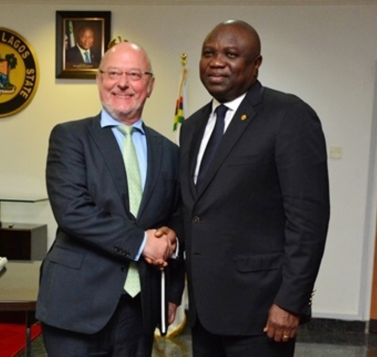 Lagos State Governor, Mr. Akinwunmi Ambode (right) with the Ambassador of Belgium to Nigeria, Mr. Stephane De Loecker during his courtesy visit to the Governor in his office at the Lagos House, Ikeja, on Monday, September 21, 2015.