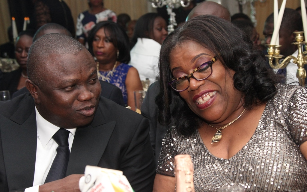 Lagos State Governor, Mr. Akinwunmi Ambode (left) with the Chief Judge of Lagos State, Hon. Justice Olufunmilayo Atilade, during the 2015/2016 Legal Year Dinner, at the Law School, Victoria Island, Lagos, on Friday, October 2, 2015