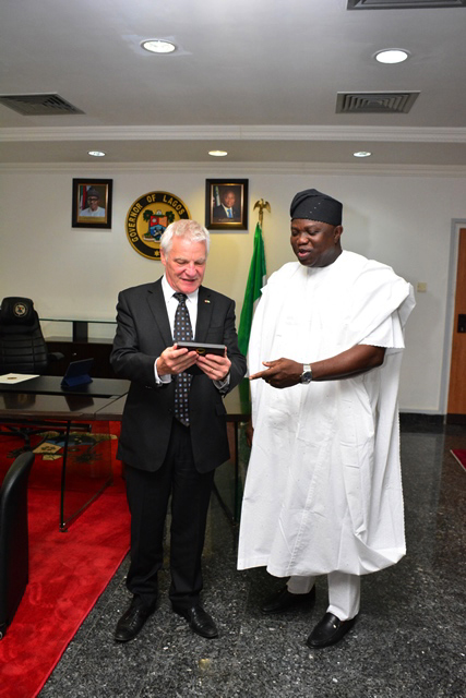Pictures: Courtesy Visit by the Consul General of Switzerland, Yves Nicolet, to Gov. Akinwunmi Ambode at the Lagos House, Ikeja, on Thursday, February 11, 2016.