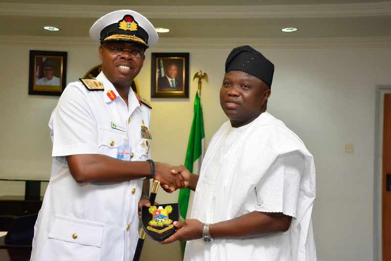 Pictures: Courtesy Visit by the Flag Officer Commanding, Western Naval command, Rear Admiral Raphael Osondu at the Lagos House, Ikeja, on Thursday, February 11, 2016.