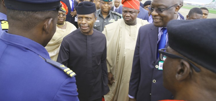 Pictures: Governor Akinwunmi Ambode Welcomes The Vice President, Prof. Yemi Osinbajo, Representing President Muhammadu Buhari On A Working Visit To Lagos State