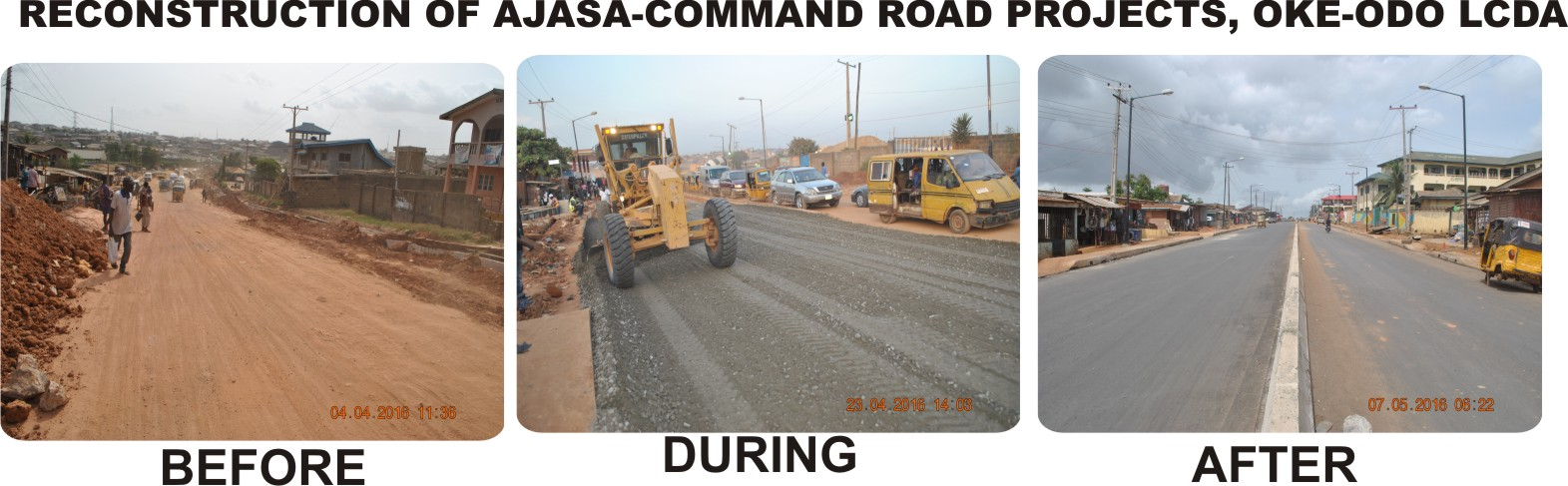 RECONSTRUCTION OF AJASA-COMMAND ROAD PROJECTS, OKE-ODO LCDA