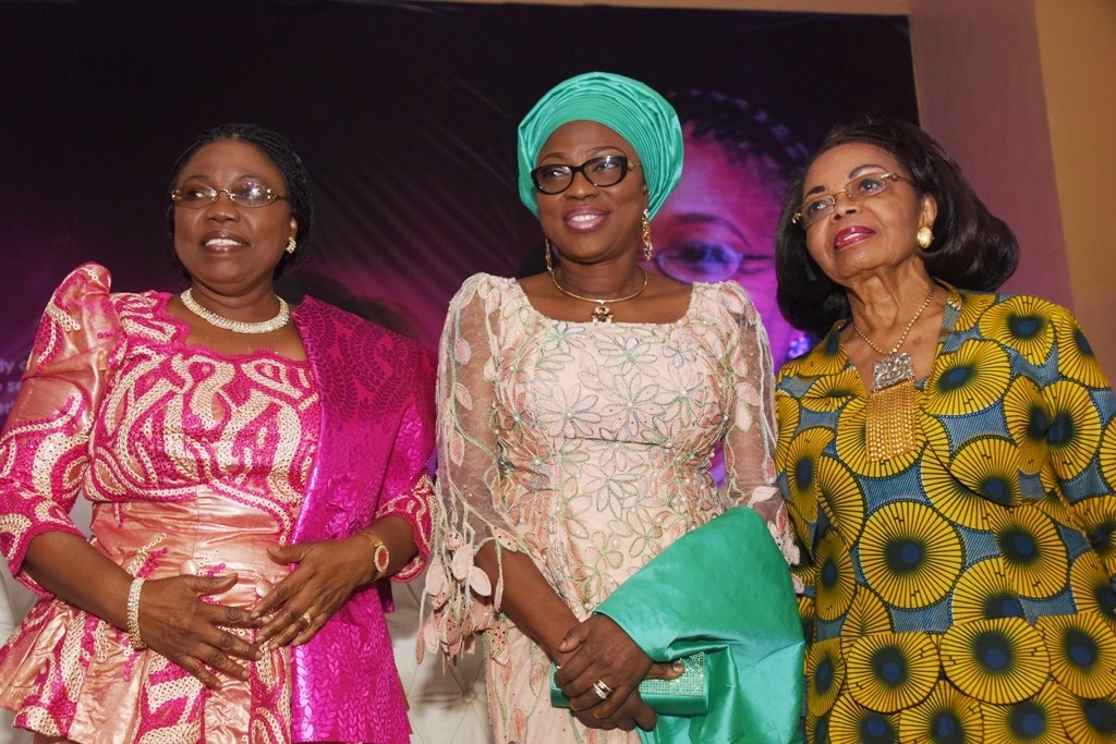 L-R: Celebrant, Dr. Ibironke Sodeinde; Wife of Lagos State Governor, Mrs. Bolanle Ambode; and the Yeye Oge of Lagos, Chief (Mrs.) Opral Benson during a special recognition of meritorious service in the Lagos State Civil Service for Dr. Sodeinde, at the Adeyemi Bero Auditorium, Alausa, Ikeja, on Tuesday, June 7, 2016.