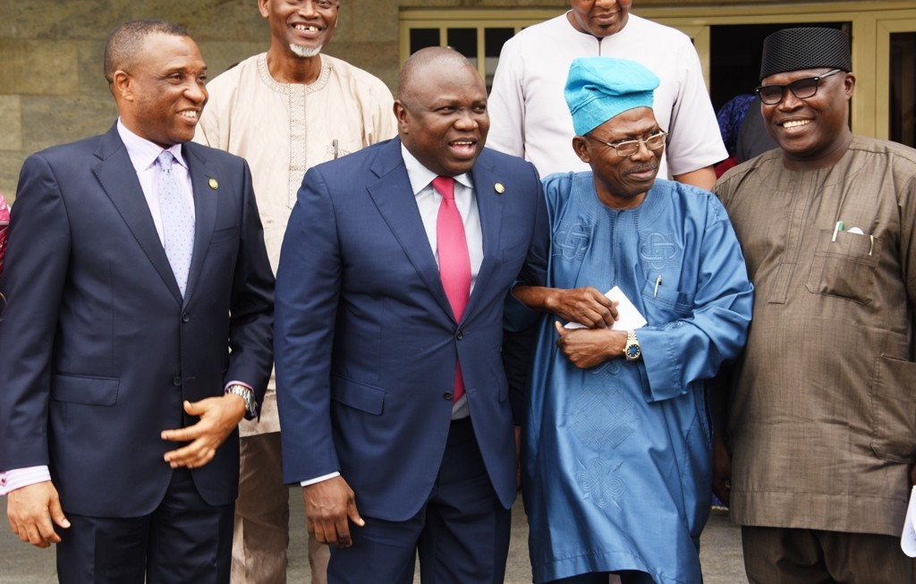Lagos State Governor, Mr. Akinwunmi Ambode (2nd left); Secretary to the State Government, Mr. Tunji Bello; Representative of Victoria Island/Ikoyi Residents Associations (VIIRA), Dr. Ishola Salami and Sole Administrator, Ikoyi/Obalende LCDA, Mr. Goke Ona-Olawale during the inauguration of a Committee on Clean-up of Victoria Island/Ikoyi/Lekki Areas at the Lagos House, Ikeja, on Tuesday, August 30, 2016.