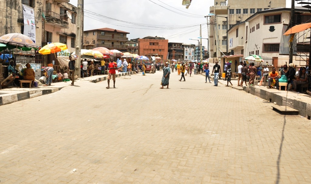 This is Sanusi Olusi Road in Lagos Island Local government, the new road is 310 meters long and 12 meters wide.