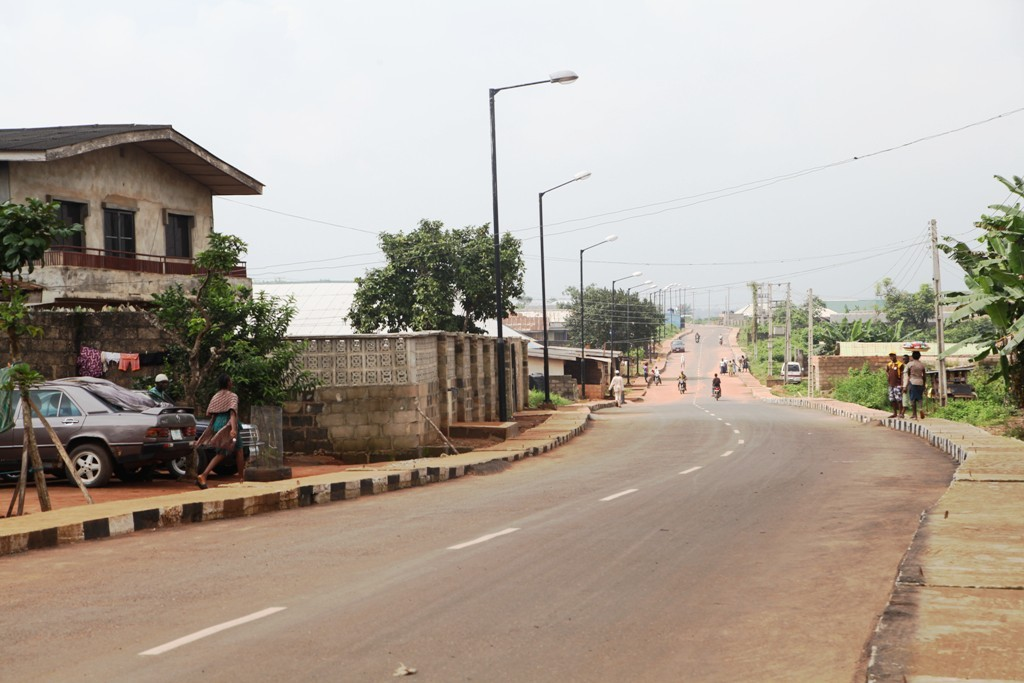 This is Watch Tower Street, Imota Local Council Development Area. The new road is 590m long and 8m wide.