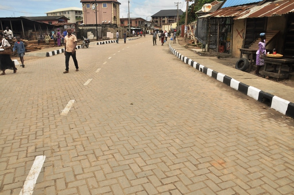 This is Goriola Oseni Street, Ojo Local Government. The new road is 450m long and 8m wide.