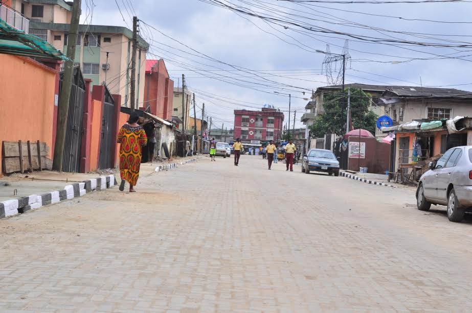 This is Bolaji Banwo Street in Coker-Aguda Local Council Development Area. The new road is 500m long and 9m wide.