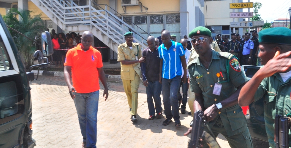 The arraigned suspected kidnappers of Oniba of Iba at the Lagos High Court, Igbosere - Duba Furejo; Ododomo Isaiah; Reuben Anthony and Yerin Fresh, on Monday, October 24, 2016.