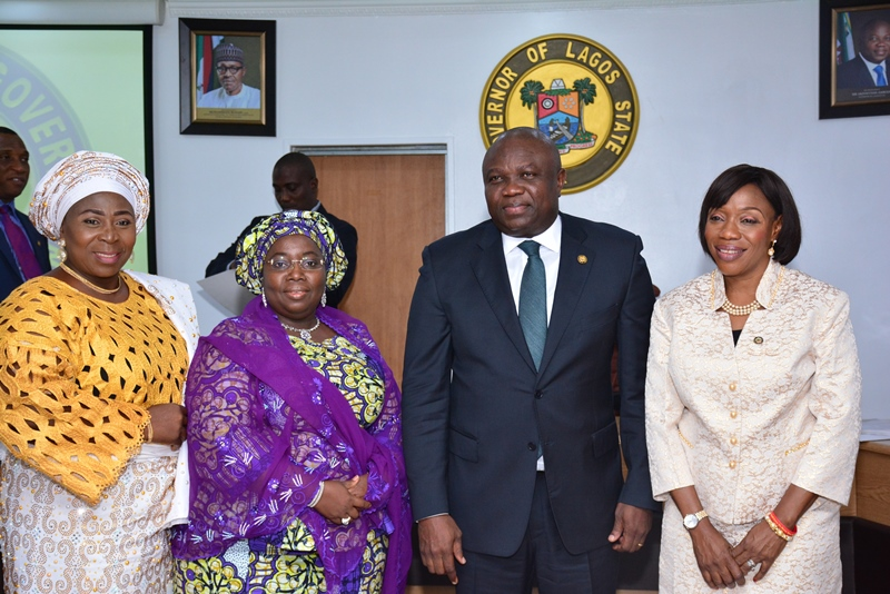 Lagos State Governor, Mr. Akinwunmi Ambode (2nd right); Deputy Governor, Dr. (Mrs.) Oluranti Adebule (2nd left), with the newly sworn-in Permanent Secretaries - Mrs. Toyin Idowu Awoseyi as PS, Civil Service Commission (right) and Mrs. Amudat Elizabeth Adekanye as PS/Tutor General, Education District V (left) during the Swearing-in of the Two Permanent Secretaries at the EXCO Chamber, Lagos House, Ikeja, on Wednesday, October 12, 2016.