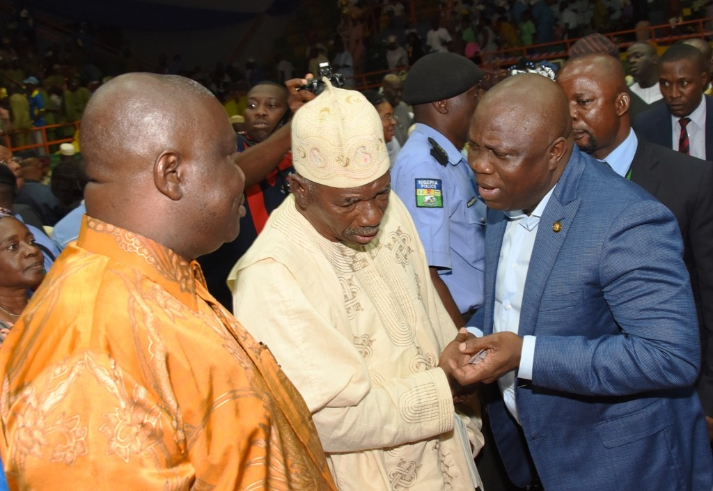 Lagos State Governor, Mr. Akinwunmi Ambode, with All Progressives Congress (APC) Leader, Lagos Central, Prince Tajudeen Olusi and former Speaker, Lagos State House of Assembly, Rt. Hon. Adeyemi Ikuforiji during the 3rd Quarter 2016 Town Hall meeting (5th in the series) to render account of stewardship of Governor Ambode's administration, at the Sir Molade Okoya-Thomas Indoor Sports Hall, Teslim Balogun Stadium, Surulere, Lagos, on Tuesday, October 11, 2016.