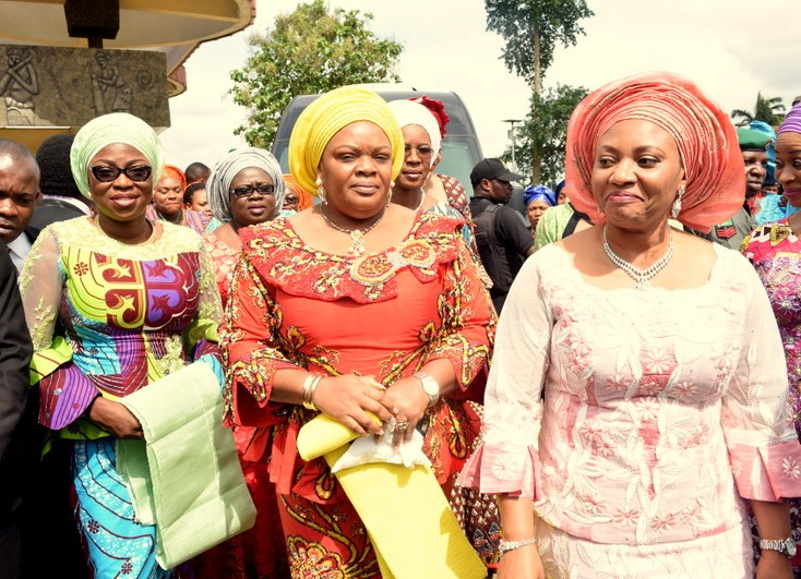 Wife of Lagos State Governor, Mrs. Bolanle Ambode; Wife of Imo State Governor & Chairman, Southern Governors' Wives Forum (SGWF), Mrs. Nkechi Okorocha and Wife of Akwa Ibom State Governor, Deaconess Martha Udom during the SGWF quarterly meeting in Akwa Ibom, on Wednesday, October 12, 2016.