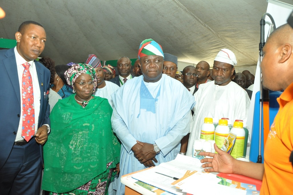agos State Governor, Mr. Akinwunmi Ambode (right); President, Nigeria Agric Business Group, Alhaji Sani Dangote (right); Deputy Governor, Dr. (Mrs.) Oluranti Adebule (2nd left) and Special Adviser on Food Security, Mr. Sanni Ganiyu Okanlawo (left) at the exhibition stands during the Lagos Food Security Summit and Exhibition at the Airport Hotel, Ikeja, on Thursday, November 10, 2016.