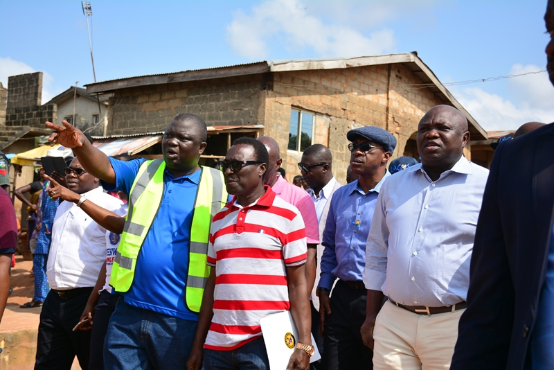 R-L: Lagos State Governor, Mr. Akinwunmi Ambode; Special Adviser/ C.E.O, Lagos State Public Works Corporation (LSPWC), Engr. Ayotunde Sodeinde and Chairman, Laralek Ultimate Construction Limited, Mr. Lekan Adebiyi during the Governor's inspection of the ongoing construction of Church Road, Agbelekale; Giwa Street and Aboru-Abesan Link Road in Agbado Oke-Odo LCDA, on Thursday, November 3, 2016.