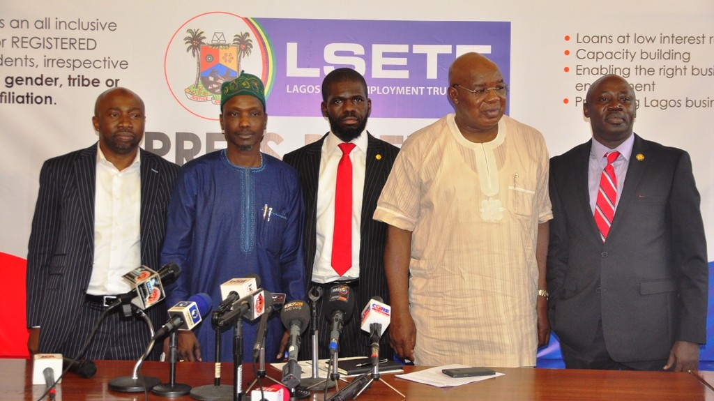 Permanent Secretary, Ministry of Wealth Creation & Employment, Mr. Abdul-Ahmed Mustapha; Chairman, House Committee on Wealth Creation & Employment, Hon. Sola Giwa; Executive Secretary of Lagos State Employment Trust Fund (LSETF), Mr. Akintunde Oyebode; Commissioner for Wealth Creation & Employment, Dr. Babatunde Durosinmi-Etti and Chief Press Secretary to the Governor, Mr. Habib Aruna during a media briefing on the activities of LSETF at the Bagauda Kaltho Press Centre, the Secretariat, Alausa, Ikeja, on Monday, November 7, 2016.