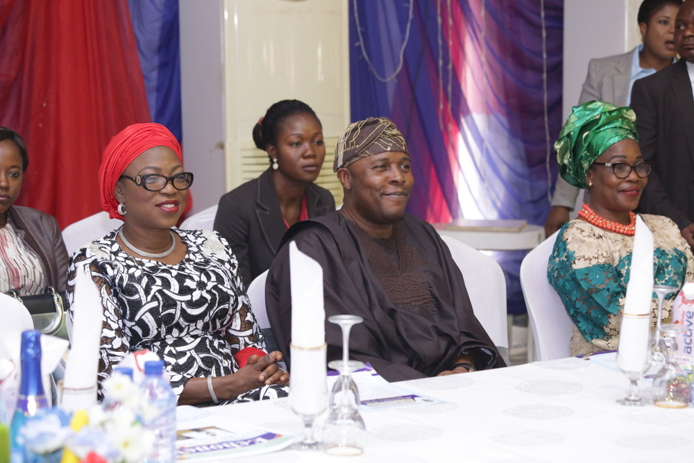 Wife of Lagos State Governor, Mrs. Bolanle Ambode; Chairman, House Committee on Education, Lagos State House of Assembly, Hon. Olanrewaju Ogunyemi and State Chairman, Association Of Primary School Head Teachers Of Nigeria (AOPSHON), Mrs. Oluwatoyin Edu during the 2016 End of Year Party for Head Teachers in Lagos State Primary Schools, organized by the State Universal Basic Education Board (SUBEB) at Oregun, Ikeja, Lagos, on Wednesday, 28 December, 2016.