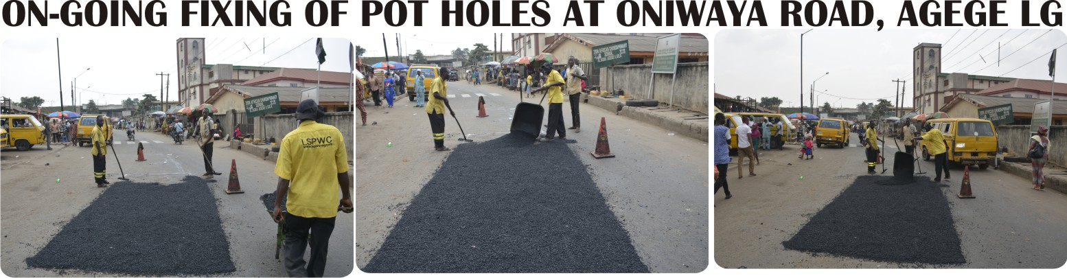 ON-GOING FIXING OF POT HOLES AT ONIWAYA ROAD, AGEGE LG