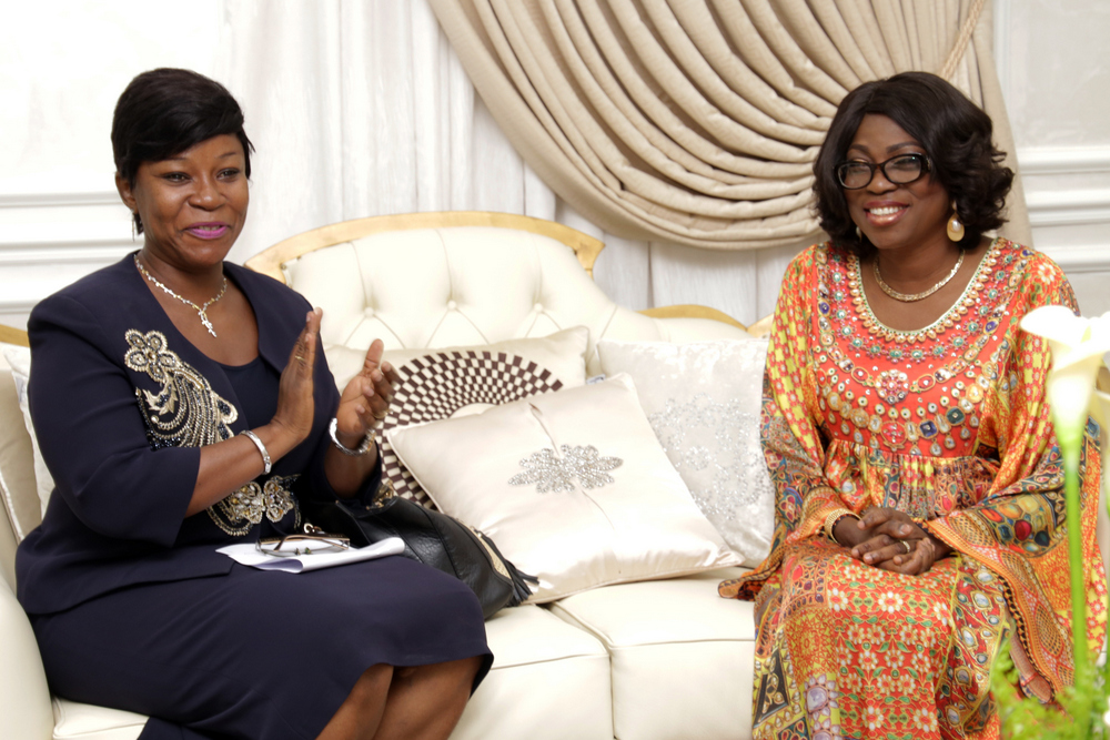 Wife of the Governor of Lagos State, Mrs Bolanle Ambode (right), with the Chairperson, International Federation of Women Lawyers (FIDA), Mrs. Ngozi Ogbolu during FIDA's courtesy visit to the wife of the Governor at the Lagos House, Ikeja, on Tuesday, 17 January, 2017.