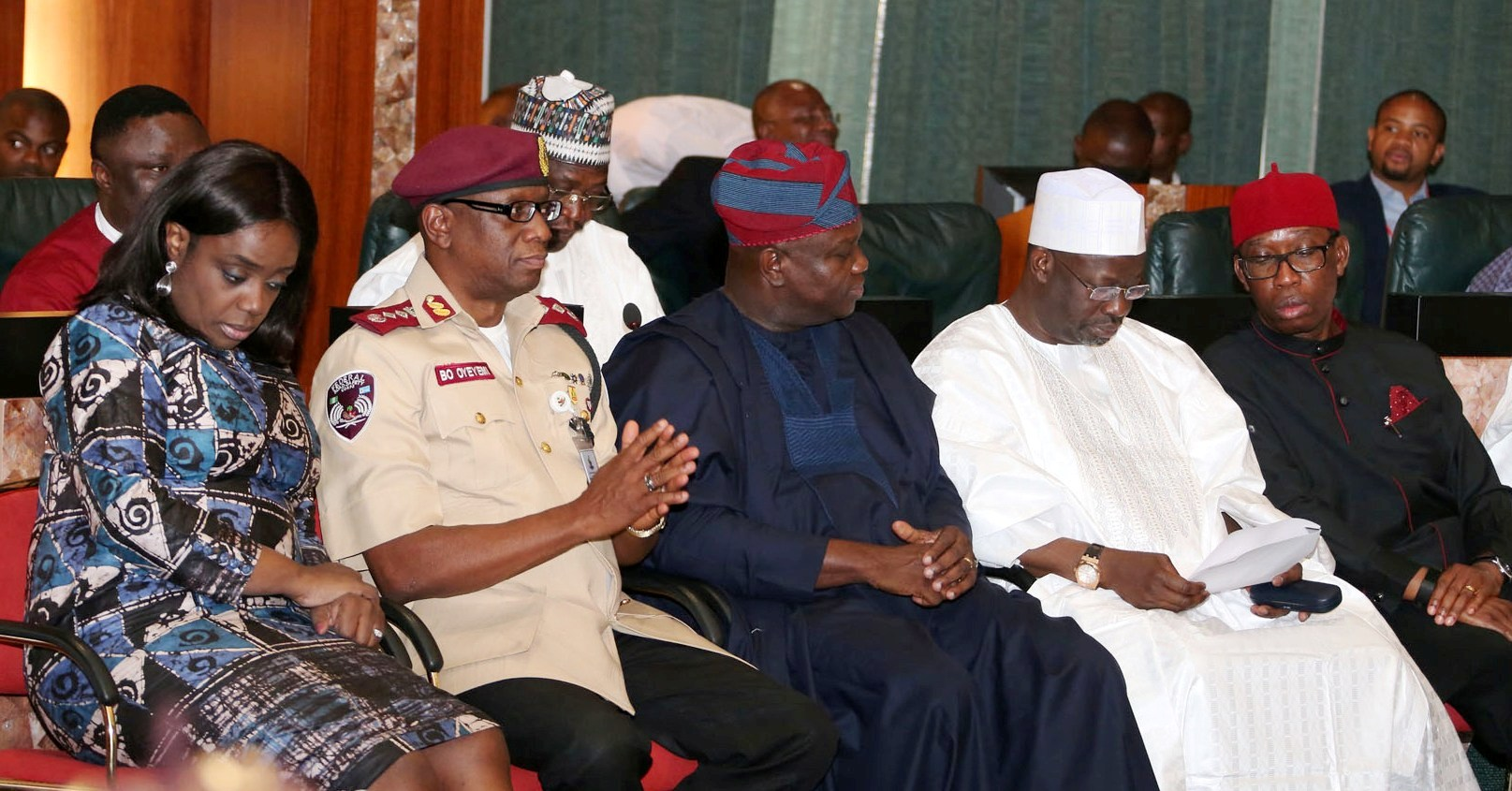 Lagos State Governor & representative of South West Zone on National Road Safety Advisory Council (NARSAC), Mr. Akinwunmi Ambode (middle), with his Gombe and Delta States counterpart, Governor Ibrahim Dankwambo (2nd right), Governor Ifeanyi Okowa (right); Corp Marshal/Chief Executive, Federal Road Safety Corps (FRSC), Mr. Boboye Oyeyemi (2nd left) and Minister of Finance, Mrs. Kemi Adeosun (left) during the inauguration of NARSAC at the Council Chamber, State House, Abuja, on Thursday, February 16, 2017.