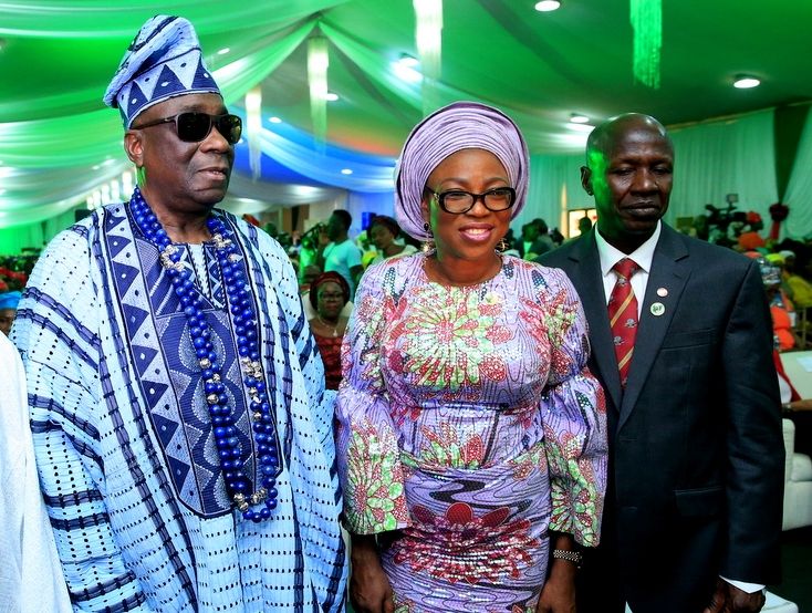 Oba of Lagos, Oba Rilwan Akiolu I; wife of Lagos State Governor, Mrs. Bolanle Ambode and Acting Chairman, Economic & Financial Crimes Commission (EFCC), Mr. Ibrahim Magu during the South-West Rollout of Nigerian Women Against Corruption Initiative by the EFCC in collaboration with the Office of the wife of the President, at the Haven, GRA Ikeja, on Wednesday, February 22, 2017.