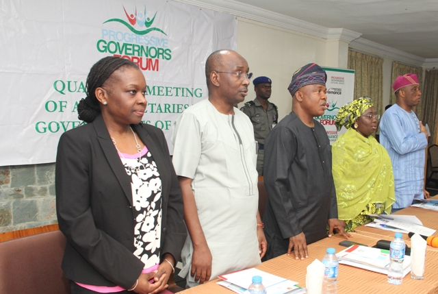 "nternational Finance Corporation (IFC) Country Manager , Nigeria, Mrs Eme Essien Lore (1st Left),Director General, Progressive Governors' Forum, Salihu Lukman (2nd Left), Representative of Ogun State Governor and SSG, Mr Taiwo Adeoluwa (middle), Representative of Lagos State Governor and Deputy Governor, Dr (Mrs) Oluranti Adebule(2nd Right and Secretary to Lagos State Government, Mr Tunji Bello (1st right)  during the Inaugural quarterly meeting of All Progressives Congress (APC) Secretaries to State Governments with the theme: ""Setting Strategic Implementation Framework for Social Development'',  in Alausa, Ikeja Lagos on Thursday, March 16, 2017"