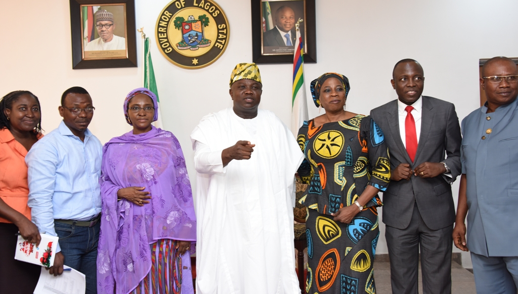 Lagos State Governor, Mr. Akinwunmi Ambode (middle), with Assistant Director, NEC Secretariat, Federal Ministry of Budget & Planning, Mrs. Adesola Oluyide; Techinal Assistant to the Vice President, Mr. Wole Sanni; Minister of State for Budget & National Planning/Chairperson of NEC Implementation Monitoring Committee, Hajia Zainab Maina; Adviser on Policy to the Vice President, Mrs. Yosola Akinbi; Commissioner for Finance/Economic Planning & Budget, Mr. Akinyemi Ashade and his counterpart for Agriculture, Mr. Oluwatoyin Suarau during the courtesy visit by the Minister of State and NEC Implementation Monitoring Committee to the Governor at the Lagos House, Ikeja, on Monday, March 20, 2017