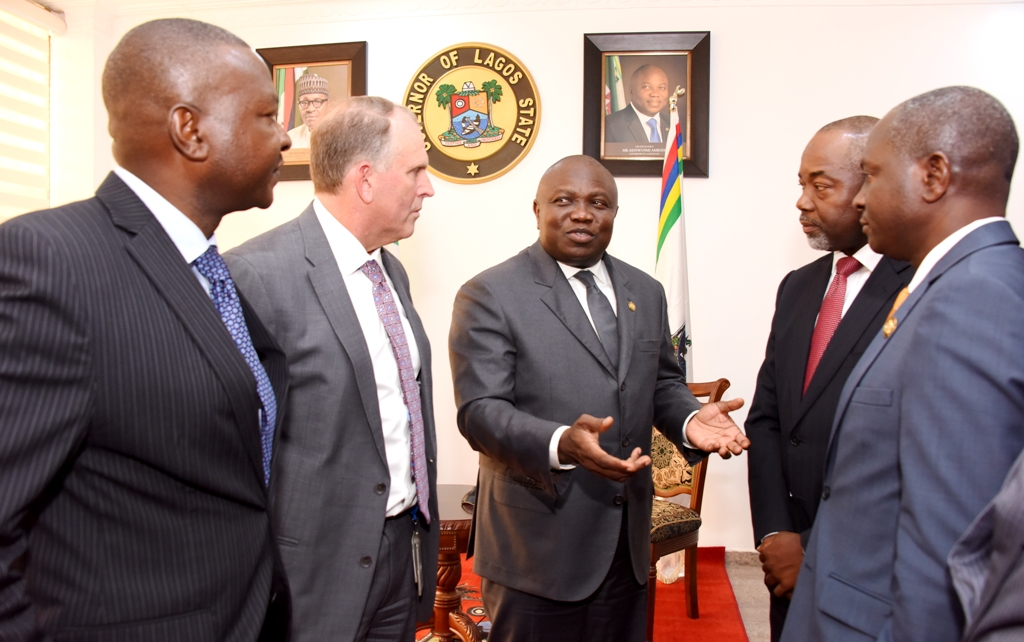 Lagos State Governor, Mr. Akinwunmi Ambode (middle); Chairman/Managing Director, Chevron Nigeria Limited, Mr. Jeffrey Ewing (2nd left); General Manager, Policy, Government & Public Affairs, Chevron Nigeria Limited, Mr. Esimaje Brikinn (left); Commissioner for Energy & Mineral Resources, Mr. Wale Oluwo (right) and General Manager, Deep Water, Chevron Nigeria Limited, Mr. Lanre Kalejaiye (2nd right) during the Chevron Chairman courtesy visit to the Governor at the Lagos House, Ikeja, on Wednesday, March 22, 2017.