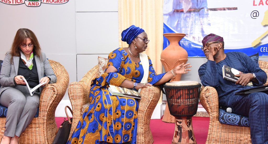 Acting Commissioner for Tourism, Arts & Culture, Mrs. Adebimpe Akinsola (middle); Co-Chairman, Lagos @ 50 Committee, Mr. Habeeb Fasinro (right) and member of the Committee, Mrs. Sarah Boulos during a World Press Conference on the Lagos @ 50 celebrations, at the Banquet Hall, Lagos House, Ikeja, on Monday, March 27, 2017.