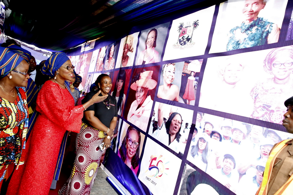 Wife of Lagos State Governor, Mrs. Bolanle Ambode (middle), flanked by members of Committee Of Wives of Lagos State Officials (COWLSO) during its Symposium as part of activities marking the Lagos @ 50 celebrations at the Nana's Arena, CBD, Ikeja, on Thursday, May 18, 2017.