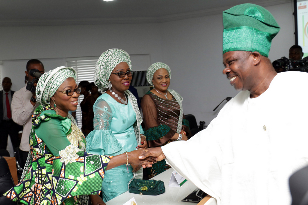 Ogun State Governor, Senator Ibikunle Amosun; wife of Lagos State Governor, Mrs. Bolanle Ambode; wife of Ondo State Governor, Mrs. Betty Anyanwu-Akeredolu and wife of Oyo State Governor, Mrs. Florence Ajimobi during a courtesy visit to the Governor as part of activities of the 5th quarterly meeting of Southern Governors Wives' Forum (SGWF) at the Government House, Abeokuta, Ogun State, on Thursday, May 11, 2017.