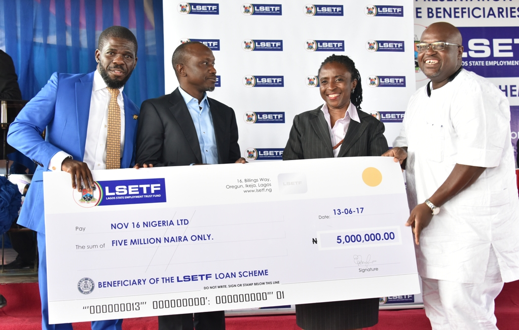 Executive Secretary, Lagos State Employment Trust Fund (LSETF), Mr. Akin Oyebode; Chairman, House Committee on Wealth Creation & Employment, Hon. Sola Giwa; Chairman, LSETF, Mrs. Ifueko Omoigui Okauru and beneficiary, representative of NOV 16 Nigeria Limited during the LSETF Cheque presentation ceremony at the De Blue Roof, LTV, Agidingbi, Ikeja, on Tuesday, June 13, 2017.