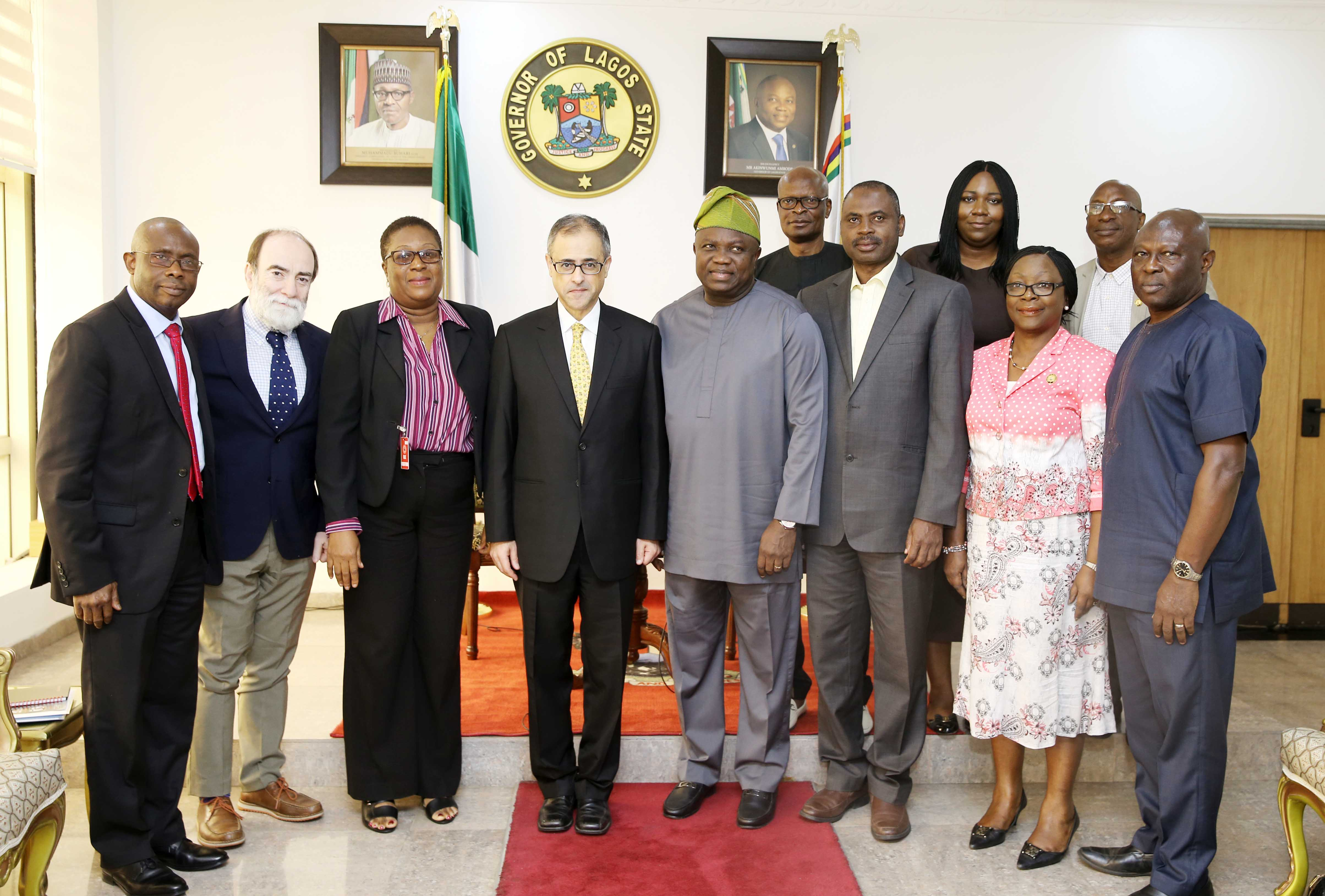 Lagos State Governor, Mr. Akinwunmi Ambode (middle); Country Director, World Bank, Mr. Rachid Benmessaoud (3rd left); Senior Operations Specialist, World Bank, Mrs. Ngozi Udolisa (2nd left); Lead Urban Specialist, South Africa, Dr. Sateh El-Arnaout (left); Commissioner for Water Infrastructure Development, Engr. Ade Akinsanya (right); Head of Service, Mrs. Olabowale Ademola (2nd right); Senior Transport Specialist, World Bank, Engr. Tunji Ahmed (3rd right) and Special Adviser to the Governor on Audit & Finance, Mr. Adeniyi Popoola (right behind) during the courtesy visit to the Governor at the Lagos House, Ikeja, on Thursday, July 13, 2017.