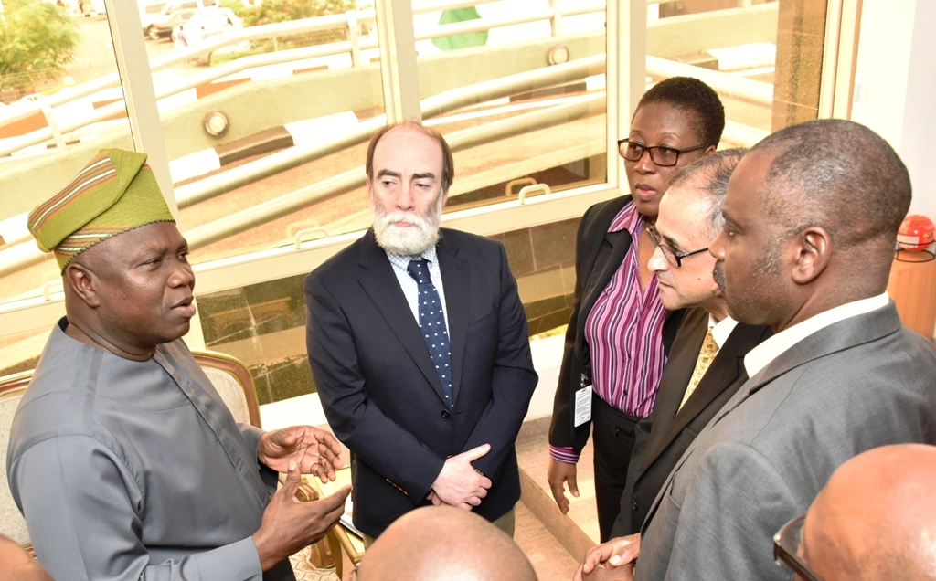 Lagos State Governor, Mr. Akinwunmi Ambode; Lead Urban Specialist, South Africa, Dr. Sateh El-Arnaout; Senior Operations Specialist, World Bank, Mrs. Ngozi Udolisa; Country Director, World Bank, Mr. Rachid Benmessaoud and Senior Transport Specialist, World Bank, Engr. Tunji Ahmed during the courtesy visit to the Governor at the Lagos House, Ikeja, on Thursday, July 13, 2017.