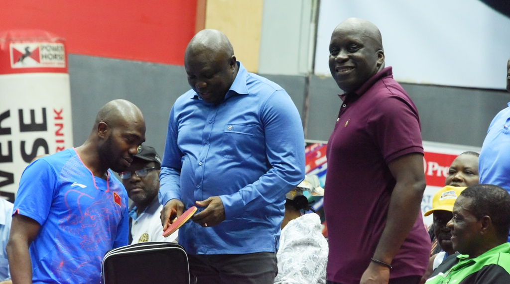 Lagos State Governor, Mr. Akinwunmi Ambode (2nd left), with Nigeria Table Tennis player, Bode Abiodun (left); Special Adviser to the Governor on Sports, Mr. Deji Tinubu (2nd right); and Vice President, ITTF Africa, Mr. Banji Oladapo (right) during the Seamaster ITTF Challenge Nigeria Open at the Teslim Balogun Stadium, Surulere, on Sunday, August 13, 2017.